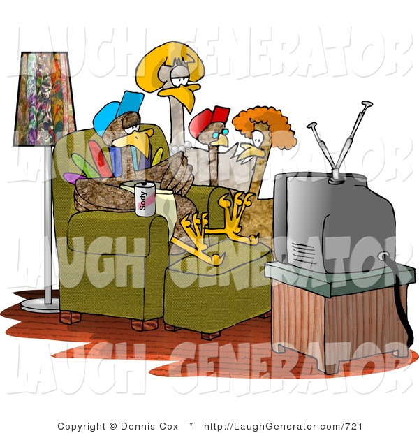 Humorous Clip Art of a Family of Turkeys Watching TV