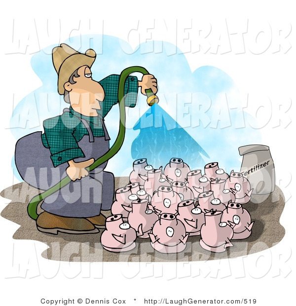 Humorous Clip Art of a Farmer Watering His Pigs with a Green Garden Hose
