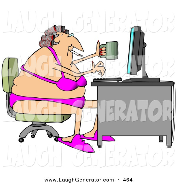 Humorous Clip Art of a Fat White Woman in Her Bra and Underwear, Hair in Curlers, Smoking a Cigarette, Holding a Coffee Mug and Typing on a Computer at a Desk