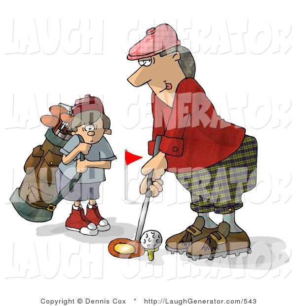 Humorous Clip Art of a Father and Son Golfing Together on Father's Day - Caddie Humor