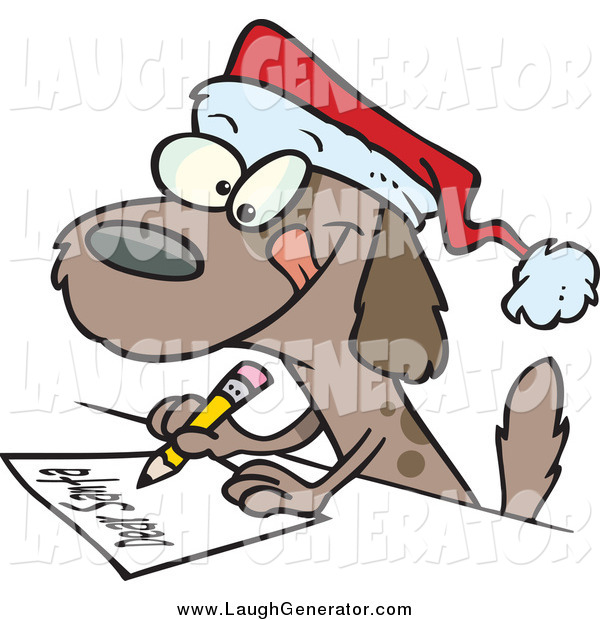Humorous Clip Art of a Festive Dog Writing a Dear Santa Letter with His Christmas Wishes