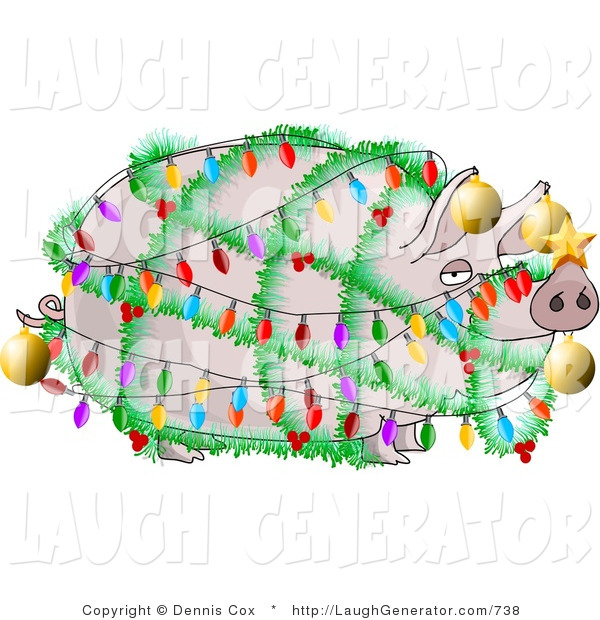 Humorous Clip Art of a Festive Funny Pig Decorated with Christmas Lights and Ornaments - Xmas Ham Concept