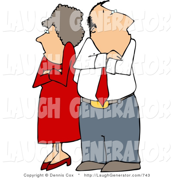Humorous Clip Art of a Fighting Couple (Husband and Wife) Standing with Arms Crossed, Facing Away from Each Other