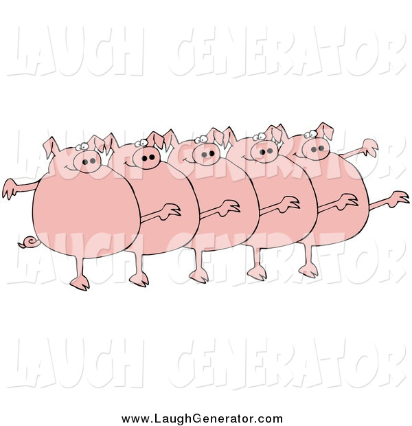 Humorous Clip Art of a Five Fat Pigs Kicking Their Legs up While Dancing in a Chorus Line