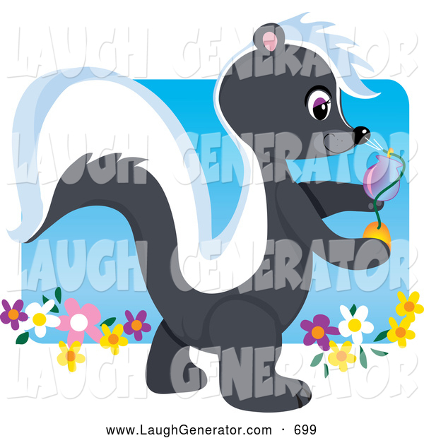Humorous Clip Art of a Friendly Cute Smelly Skunk Walking in a Flower Garden and Spraying Fragrance