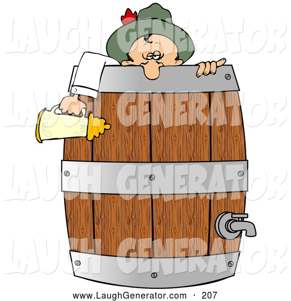 Humorous Clip Art of a Friendly Drunk Oktoberfest Man in Costume, Leaning over a Wooden Beer Keg Barrel and Holding a Stein