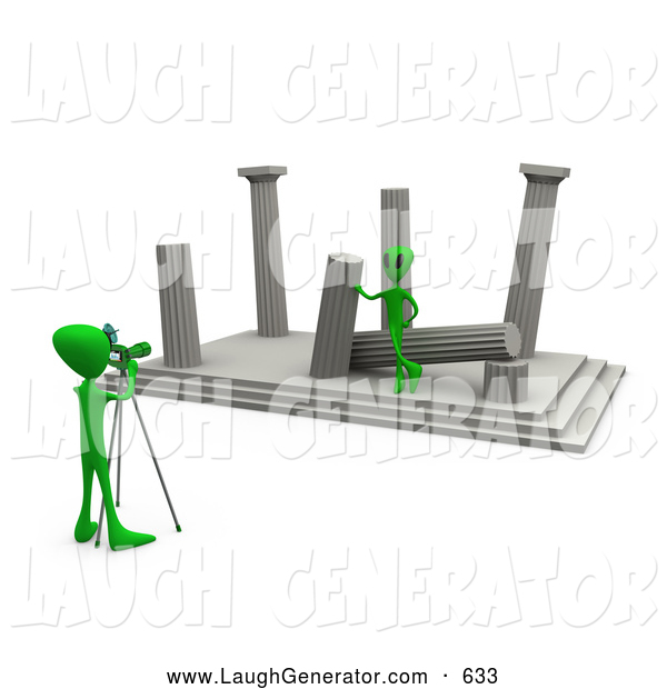 Humorous Clip Art of a Friendly Green Alien Tourist Leaning Against a Column of Ancient Architectural Ruins, Modeling for a Photographer