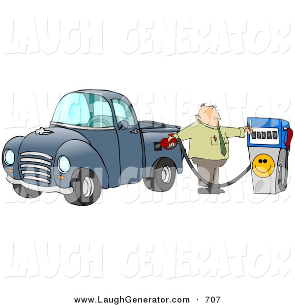 Humorous Clip Art of a Frustrated Caucasian Business Man Flipping off the Smiley Face on an Expensive Fuel Pump While Filling up the Gasoline Tank of His Blue Pickup Truck at a Gas Station