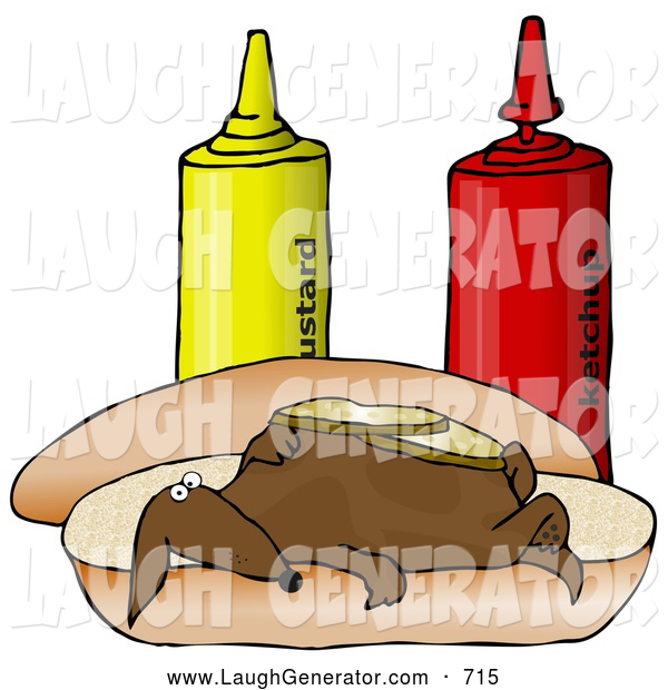 Humorous Clip Art of a Funny Brown Wiener Dog Topped with Pickle Slices, Lying on His Back on a Hot Dog Bun Beside Ketchup and Mustard Bottles