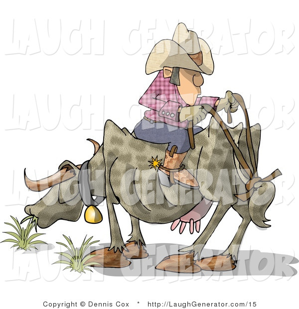 Humorous Clip Art of a Funny Cowboy Sitting on the Back of a Cow, Facing the Wrong Way
