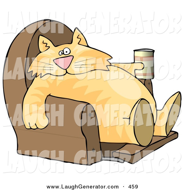 Humorous Clip Art of a Funny Human-like Ginger Cat Sitting on a Recliner Chair with a Can of Beer