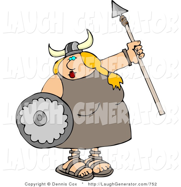 Humorous Clip Art of a Funny Viking Female Armed with a Spear and Shield