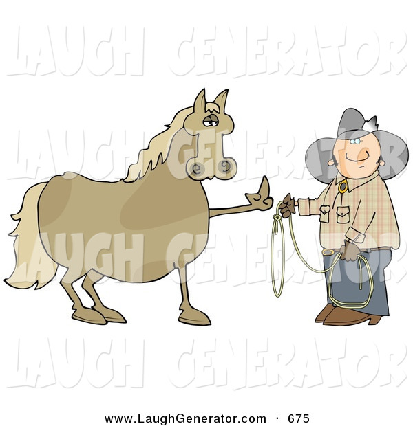 Humorous Clip Art of a Fussy and Angry Tan Horse Flipping off a Confused Cowboy Who Is Trying to Put a Lasso Around Him
