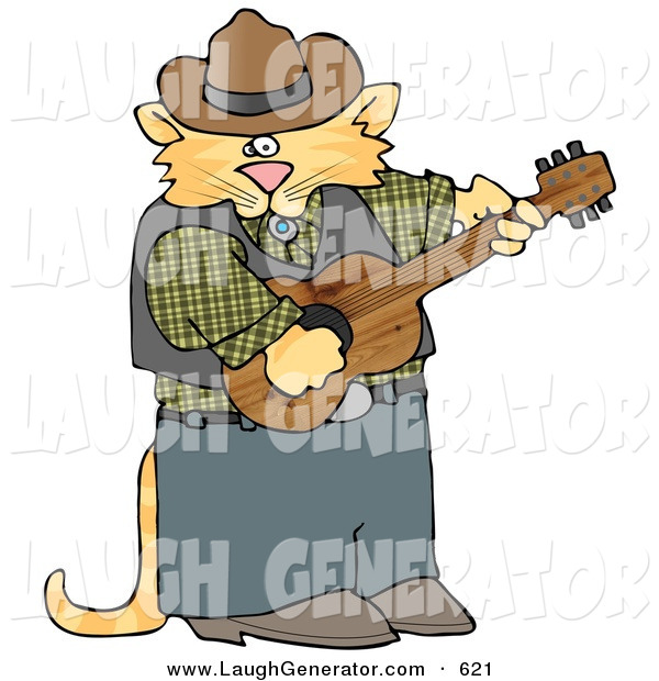 Humorous Clip Art of a Ginger Anthropomorphic Cowboy Cat Playing Country Music on an Acoustic Guitar