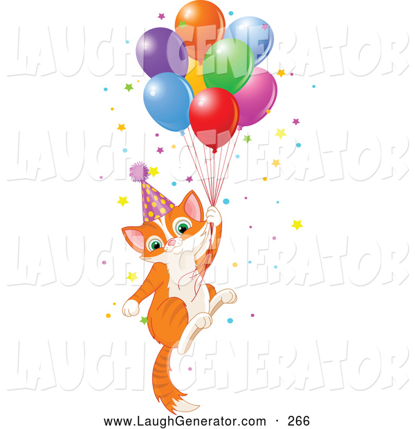 Humorous Clip Art of a Ginger Birthday Kitten Floating Away with Balloons and Confetti