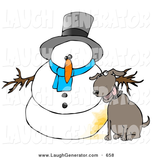 Humorous Clip Art of a Goofy Dog Peeing on a Snowman