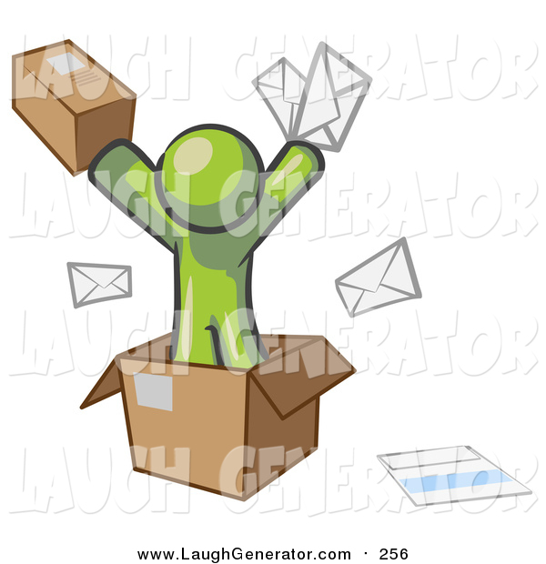 Humorous Clip Art of a Green Man Going Postal with Parcels and Mail