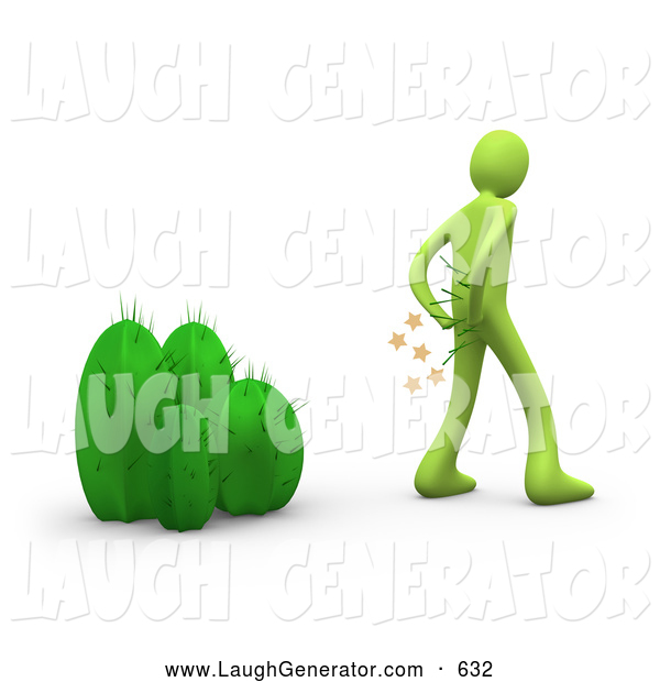 Humorous Clip Art of a Green Man Pulling Needles out of His Butt After Mistakenly Sitting on a Cactus Plant