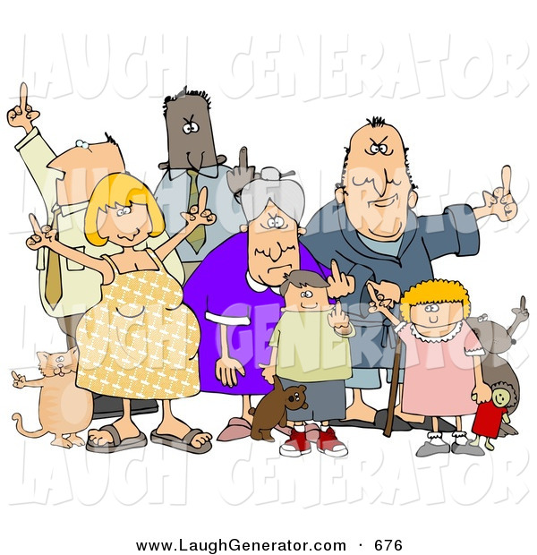 Humorous Clip Art of a Group of Angry People of All Ages and Mixed Ethnicities, Standing with a Dog and a Cat and Flipping People Off, on White