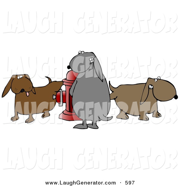 Humorous Clip Art of a Group of Brown and Gray Dogs Peeing on a Red Fire Hydrant