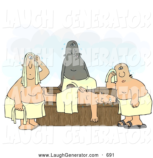 Humorous Clip Art of a Group of Hot Men Wrapped in Towels, Sweating in a Steam Sauna