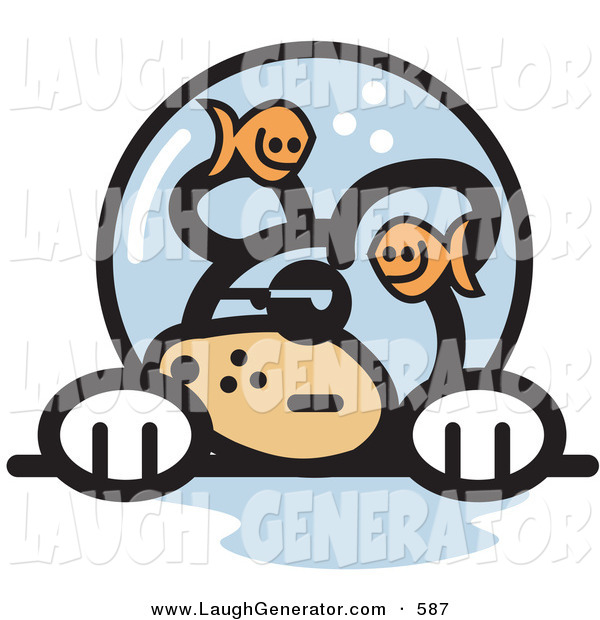 Humorous Clip Art of a Grumpy Caucasian Dog with Fish Making Fun of Him in a Fishbowl Stuck on His Head