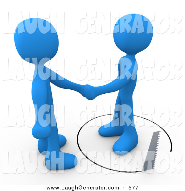 Humorous Clip Art of a Gullible Blue Person Shaking Hands on a Deal with Another Man As a Saw Cuts a Circle out from Under Him