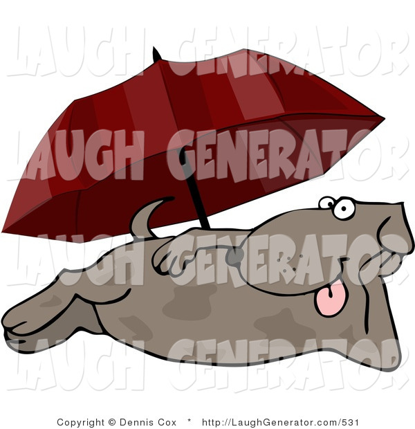 Humorous Clip Art of a Happy Dog Laying at the Beach Under an Umbrella in Summer