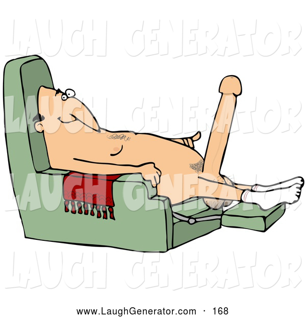 Humorous Clip Art of a Happy Old Caucasian Man with a Hardon, Sitting in a Chair and Wearing Only Socks
