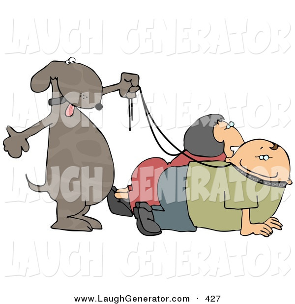 Humorous Clip Art of a Happy Pet Dog Walking His Owners on Leashes