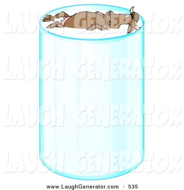 Humorous Clip Art of a Happy Relaxed Brown Cow with Horns, Leisurely Floating and Taking a Swim in a Tall Glass of Milk on White