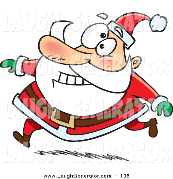 Humorous Clip Art of a Happy Santa Claus Grinning and Running in His Red Suit