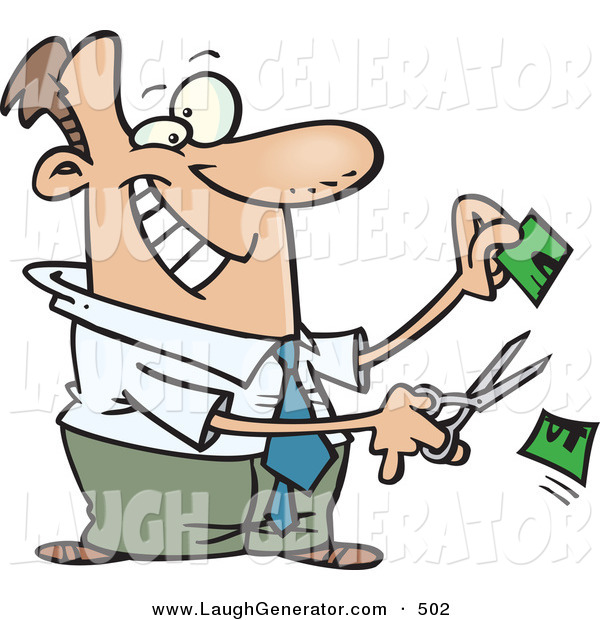 Humorous Clip Art of a Happy White Business Man Cutting Money in Half