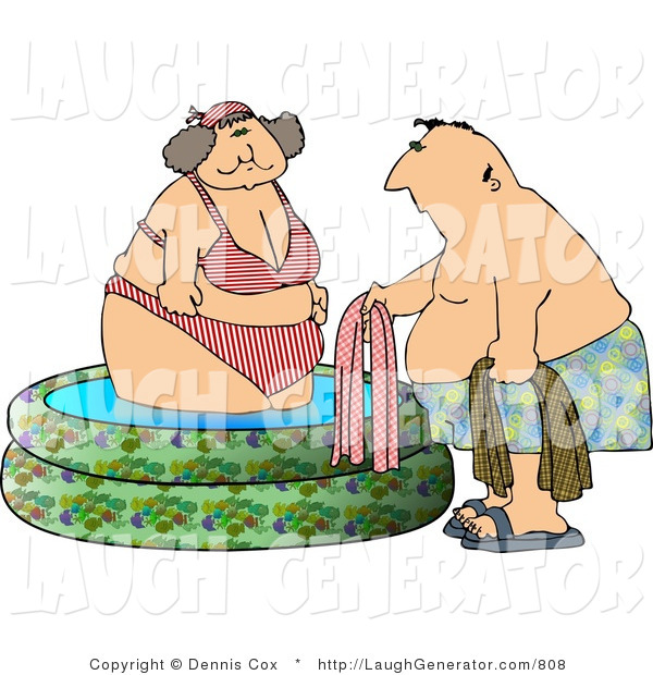 Humorous Clip Art of a Heavyset Woman Getting out of a Swimming Pool with a Man