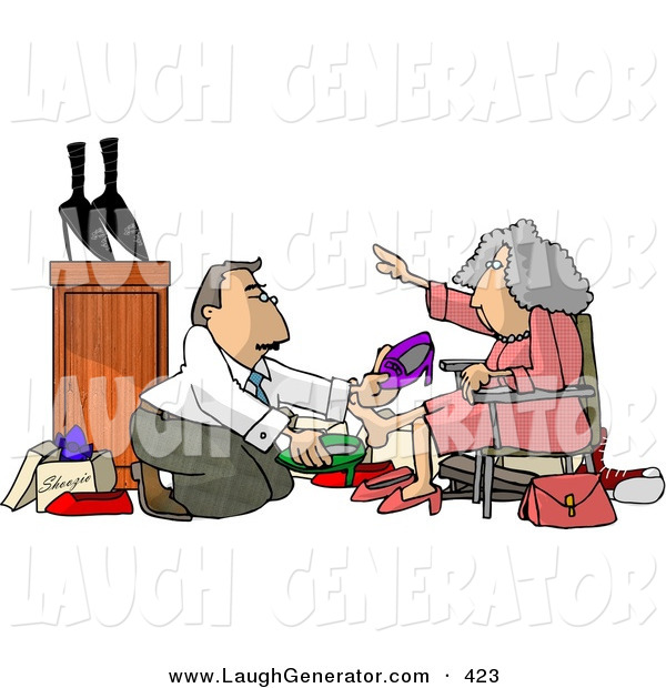 Humorous Clip Art of a Helpful Caucasian Shoe Salesman Helping an Elderly Woman Pick out a New Pair of Shoes