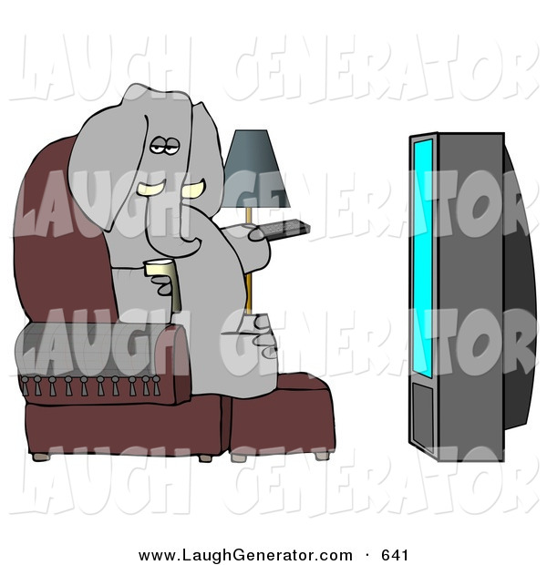 Humorous Clip Art of a Human-like Obese Elephant Watching TV and Drinking Beer