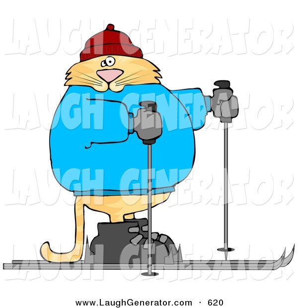 Humorous Clip Art of a Human-like Orange Cat Cross-country Skiing to the Right