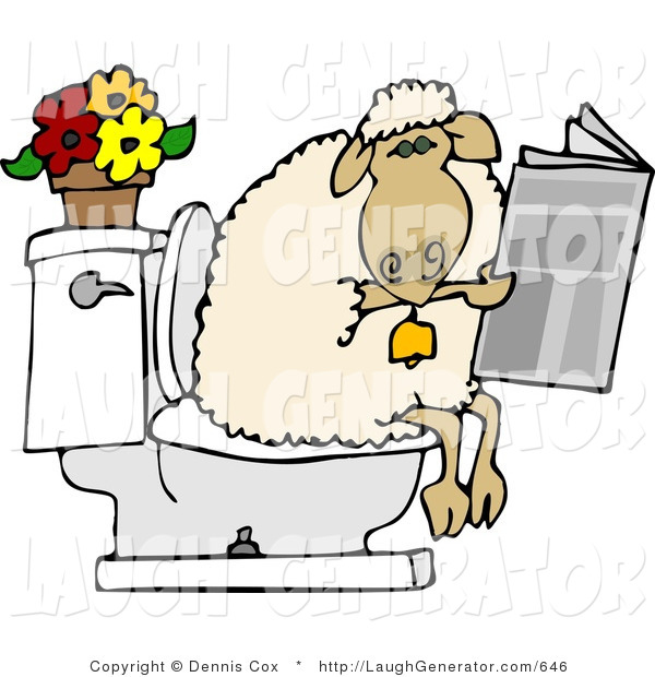 Humorous Clip Art of a Human-Like Sheep Going Poop in a Human Toilet and Is Reading a Newspaper