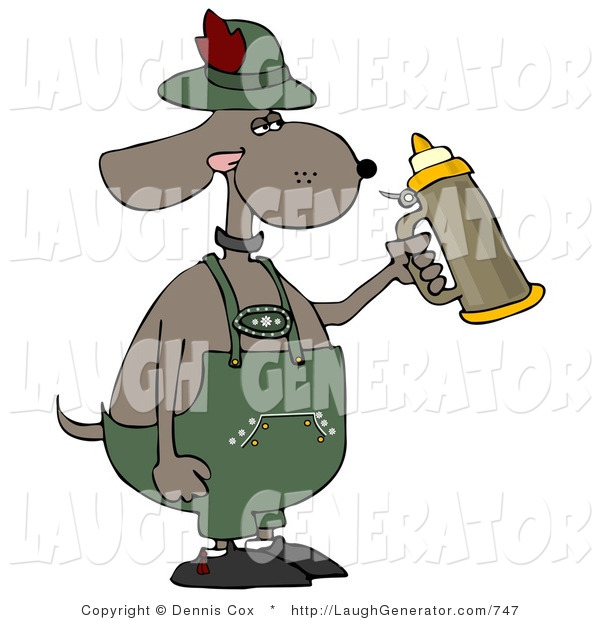 Humorous Clip Art of a Humorous Anthropomorphic Brown Dog Holding a Beer Stein While Celebrating Oktoberfest in Germany