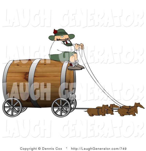 Humorous Clip Art of a Humorous German Man Guiding a Group of Brown Weiner Dogs Pulling an Oversized Wooden Beer Keg Wagon - Oktoberfest