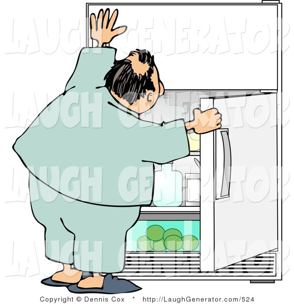 Humorous Clip Art of a Humorous Obese Man Peeking in the Fridge for Something to Eat