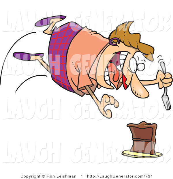 Humorous Clip Art of a Hungry and Chubby Caucasian Woman Diving Towards a Chocolate Cake with a Fork