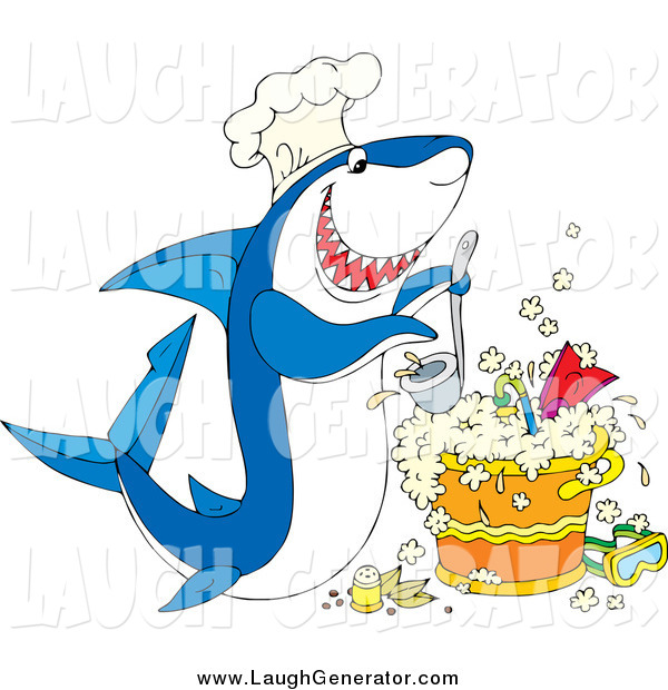 Humorous Clip Art of a Hungry Chef Shark, Cooking up a Pot of Scuba Stew