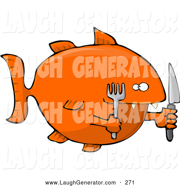 Humorous Clip Art of a Hungry Orange Fish Holding a Knife and Fork