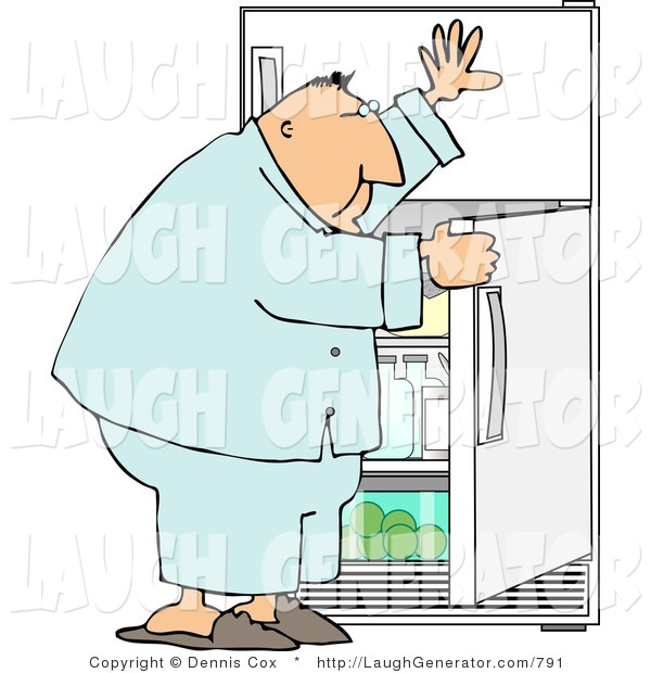 Humorous Clip Art of a Hungry Overweight Man Peeking in a Refrigerator for Food