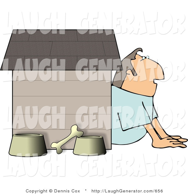 Humorous Clip Art of a Husband in Trouble with His Wife, Sitting Outside of a Doghouse with a Bone and Two Food and Water Bowls