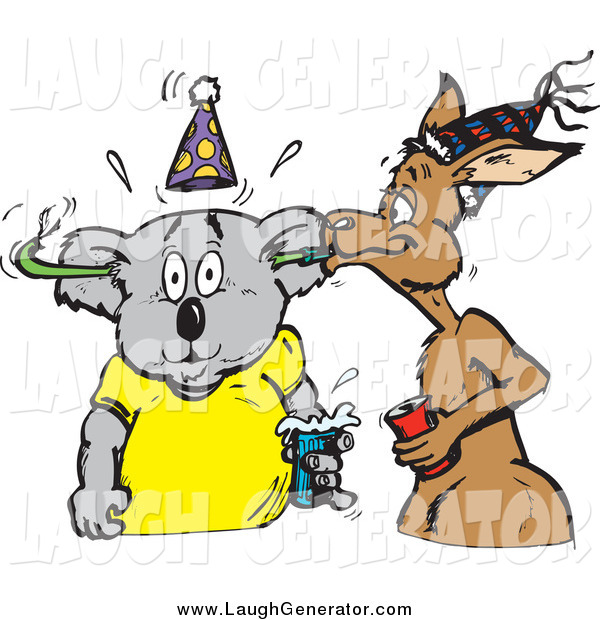 Humorous Clip Art of a Kangaroo Blowing a Toy Through a Koala's Ears at a Party