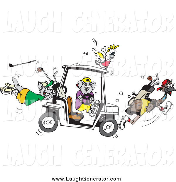 Humorous Clip Art of a Koala Driving a Golf Cart, Creating Chaos with His Cockatoo, Kangaroo and Emu Friends