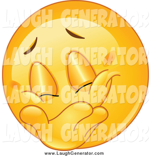 Humorous Clip Art of a Laughing Emoticon Covering His Grin