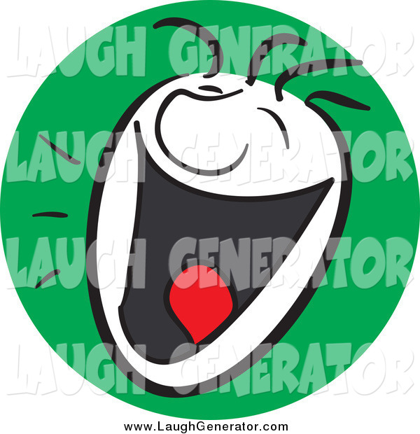 Humorous Clip Art of a Laughing Man with a Happy Expression